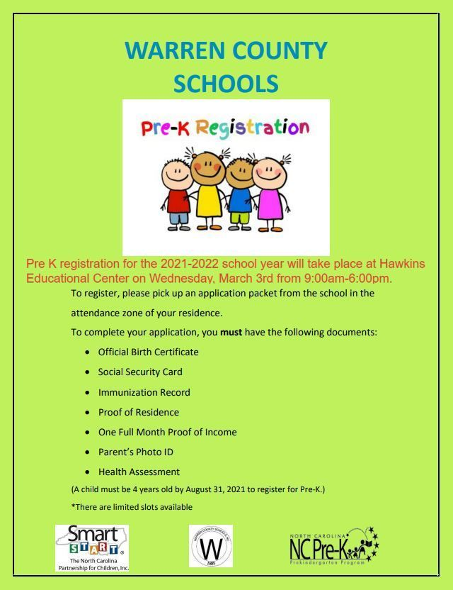 PRE-K Registration Date and Times Set
