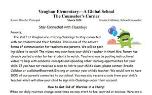 Please check out the latest edition of the Counselor's Corner