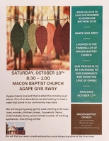 Macon Baptist Invites You to Their Agape Give Aways