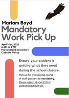 Second Round of Student Work Pickup at Mariam Boyd