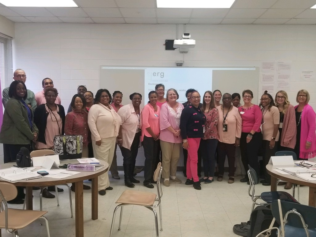 Staff members attend a professional development session while sporting pink for breast cancer awareness month!