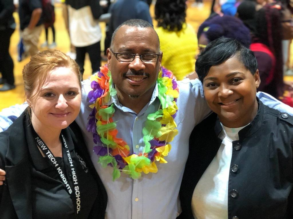 Warren County High School, Warren New Tech High School and Warren Early College principals show their unity during Homecoming Week.