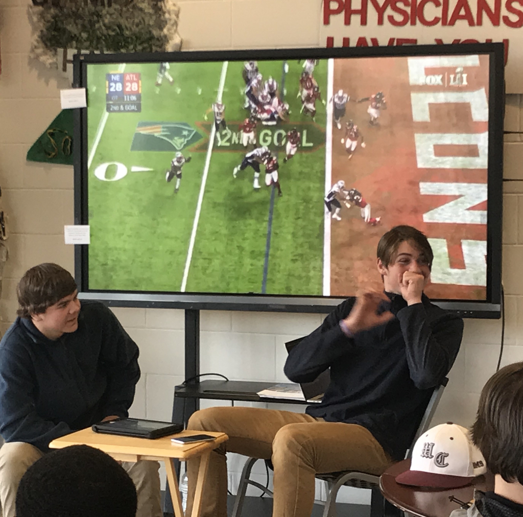 WNTHS students tried sports reporting for different sporting events including football, golf, and even competitive gaming during the Sports Media Seminar by Full Sail University.