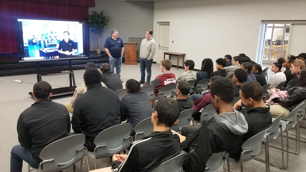 Students in the Engineering and Construction Academy had an opportunity to meet with Michael Taylor and one of his apprentice from Buhler to inform students about career opportunities with the North Carolina Triangle Apprenticeship Program.