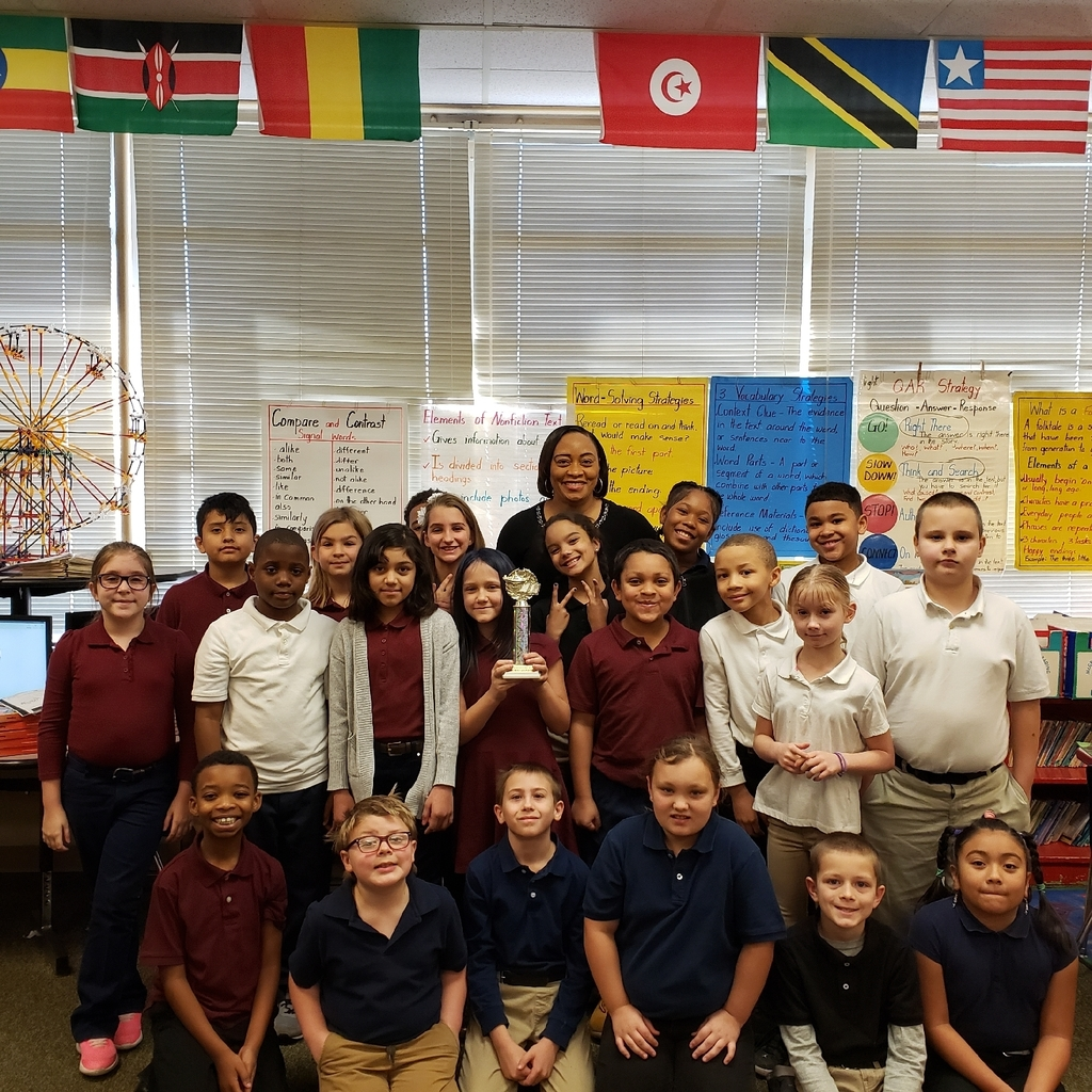 Mrs. Cole-Bailey's 3rd grade wins the trophy for Top Reading Class in the whole school for December 2019