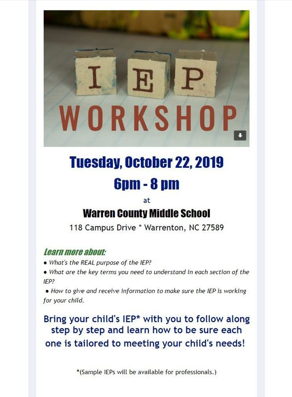 IEP Workshop for Parents to be held at WCMS